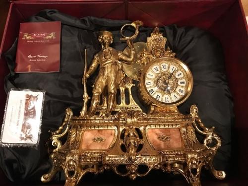 """Часы каминные """"Охотник"""" Испания, позолота, мрамор"""